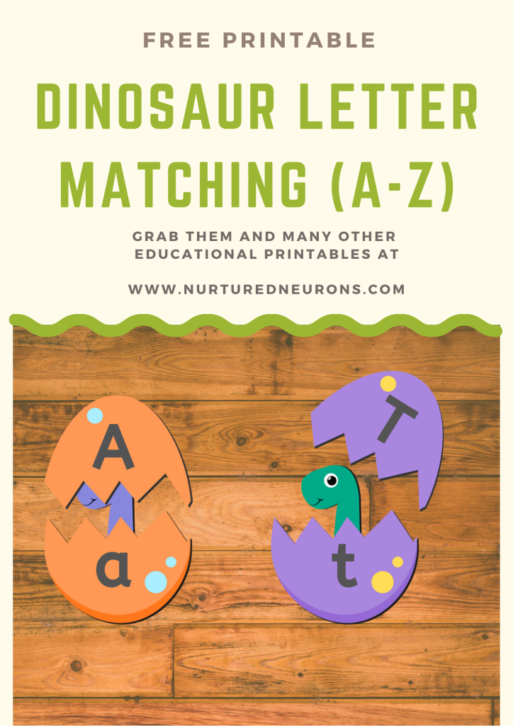 Cute Dinosaur Letter Matching Game (Free Printable)