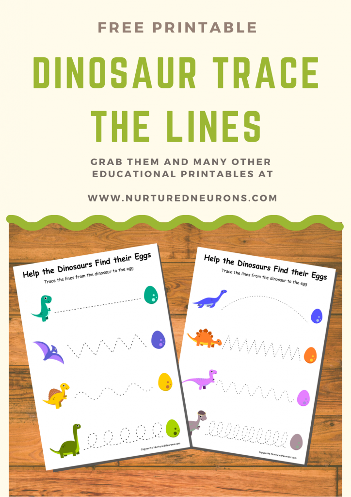 Dinosaur Trace the line printable (free prewriting worksheets)