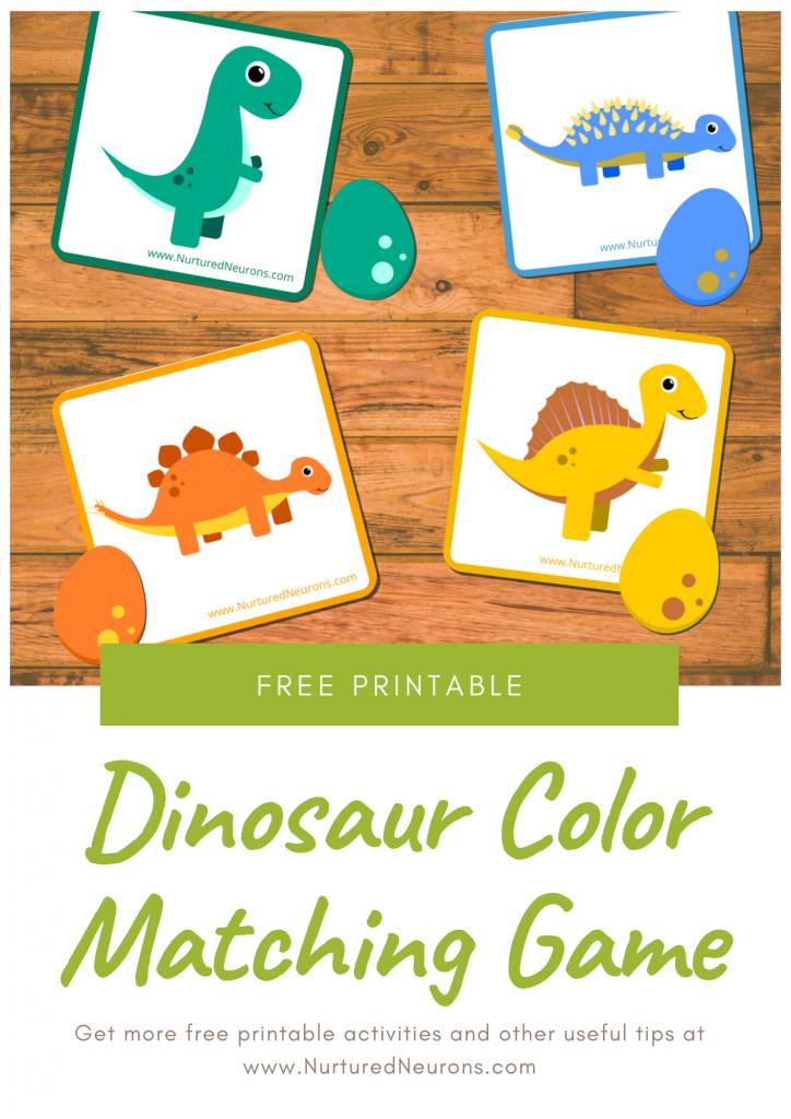Dinosaur color matching game preschool printable