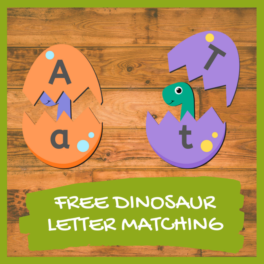 FREE DINOSAUR LETTER MATCHING GAME FOR PRESCHOOLERS AND KINDERGARTEN