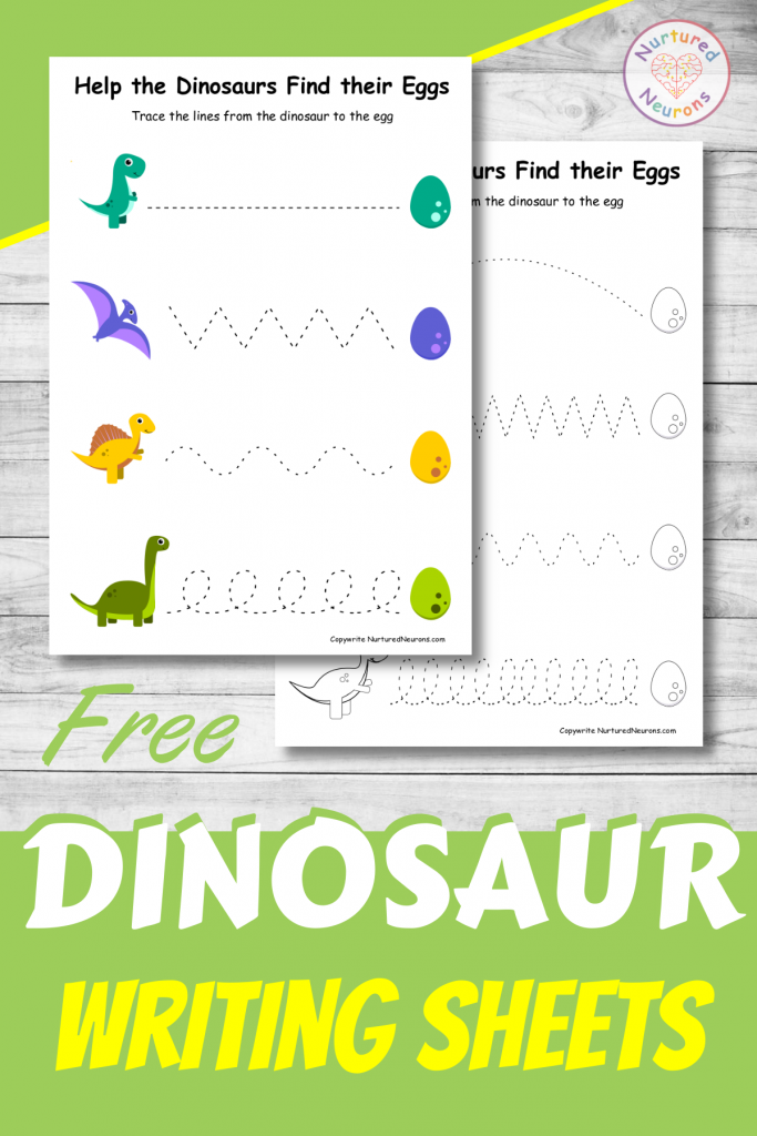 FREE DINOSAUR prewriting trace the lines worksheets for preschool