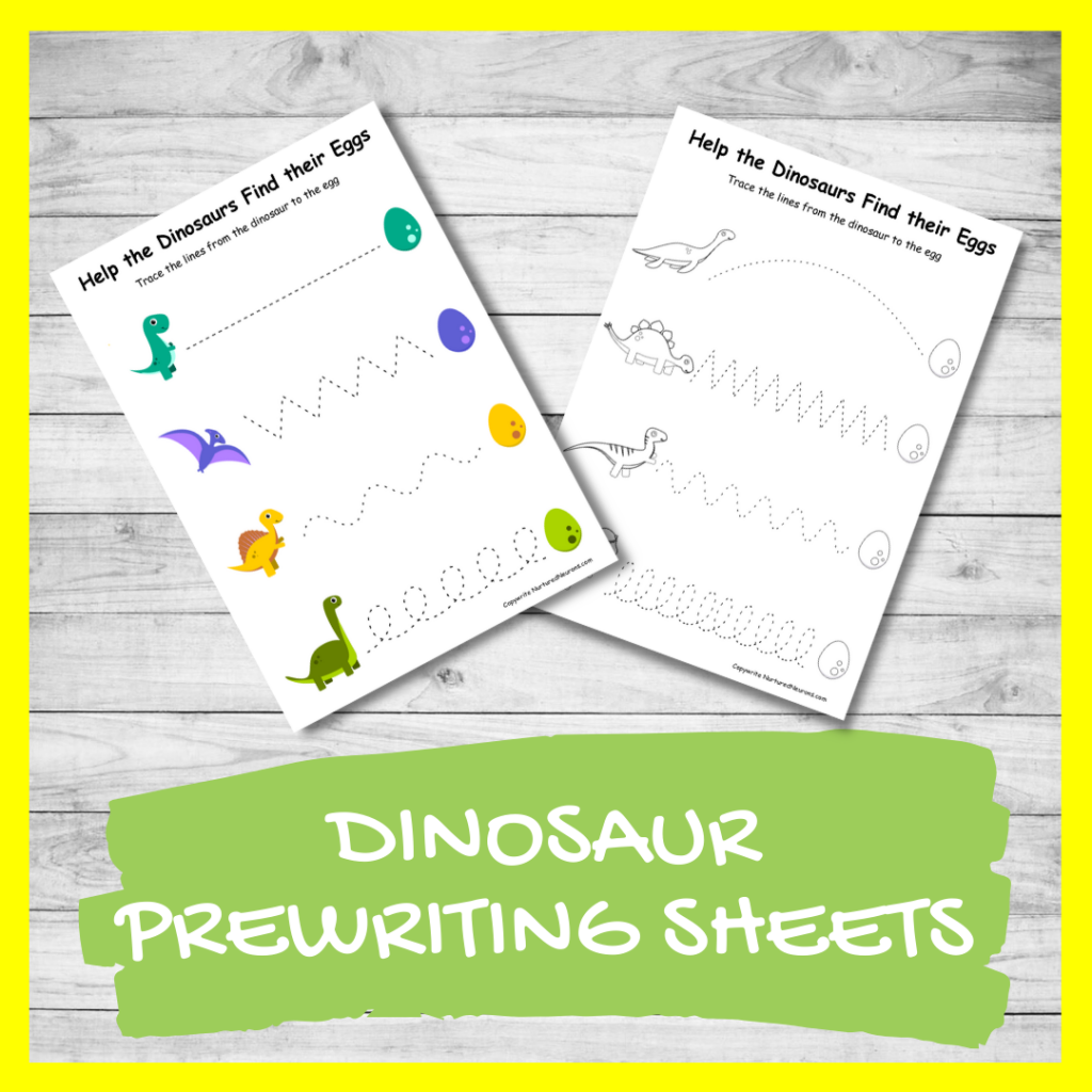 FREE PRINTABLE DINOSAUR prewriting trace the lines worksheets for preschool