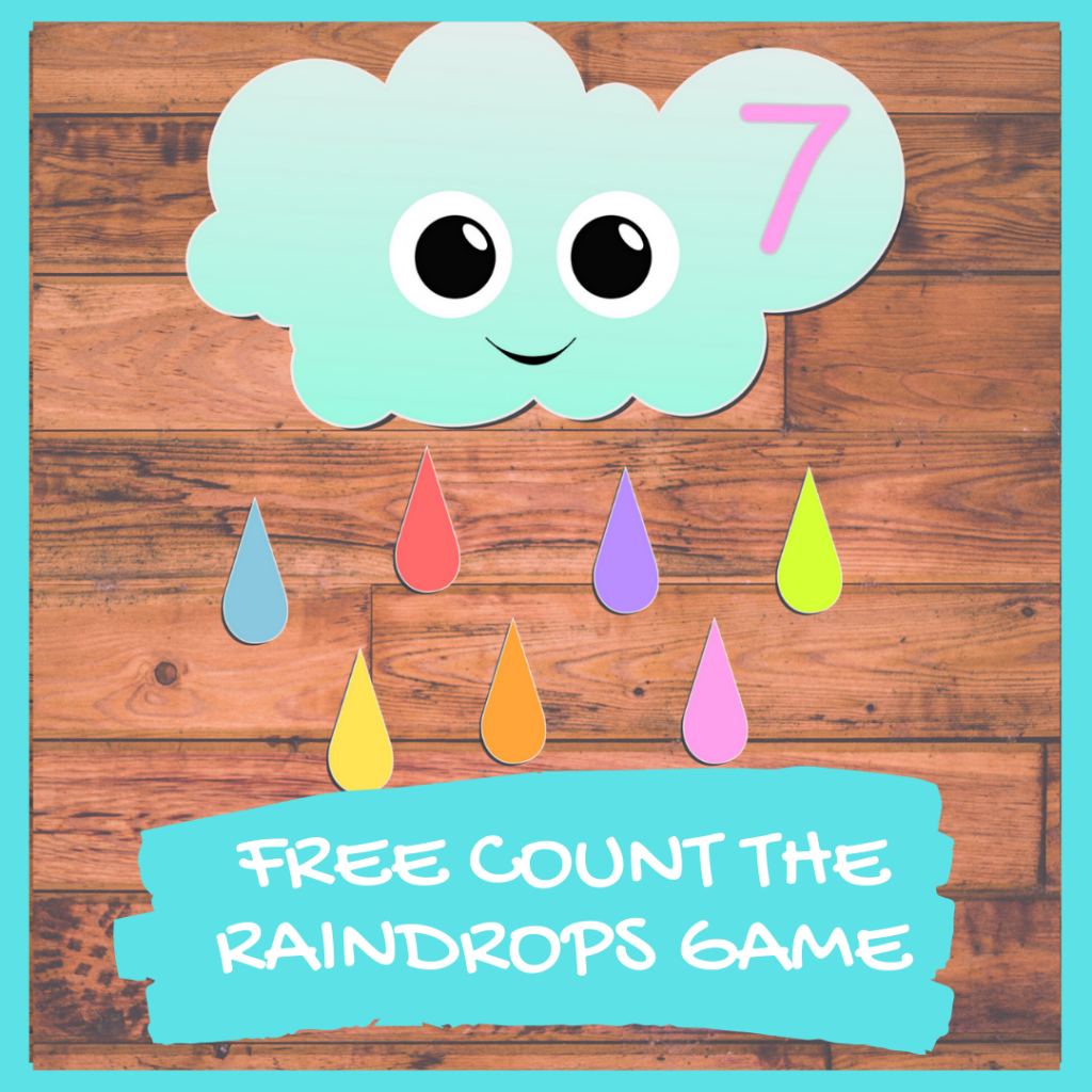 PRESCHOOL WEATHER PRINTABLE - RAINDROP COUNTING GAME