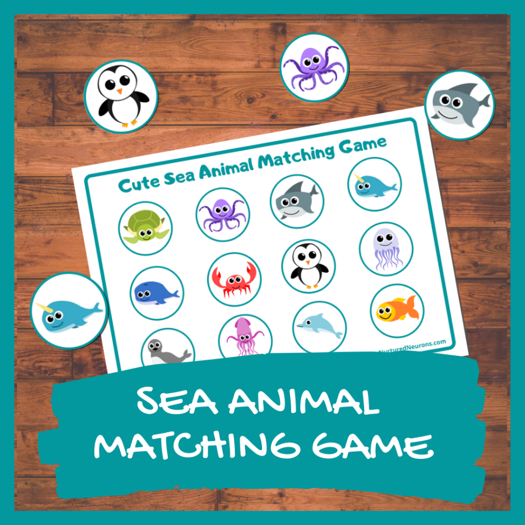 SEA ANIMAL MATCHING GAME FOR TODDLERS AND PRESCHOOLERS (FREE PRINTABLE)