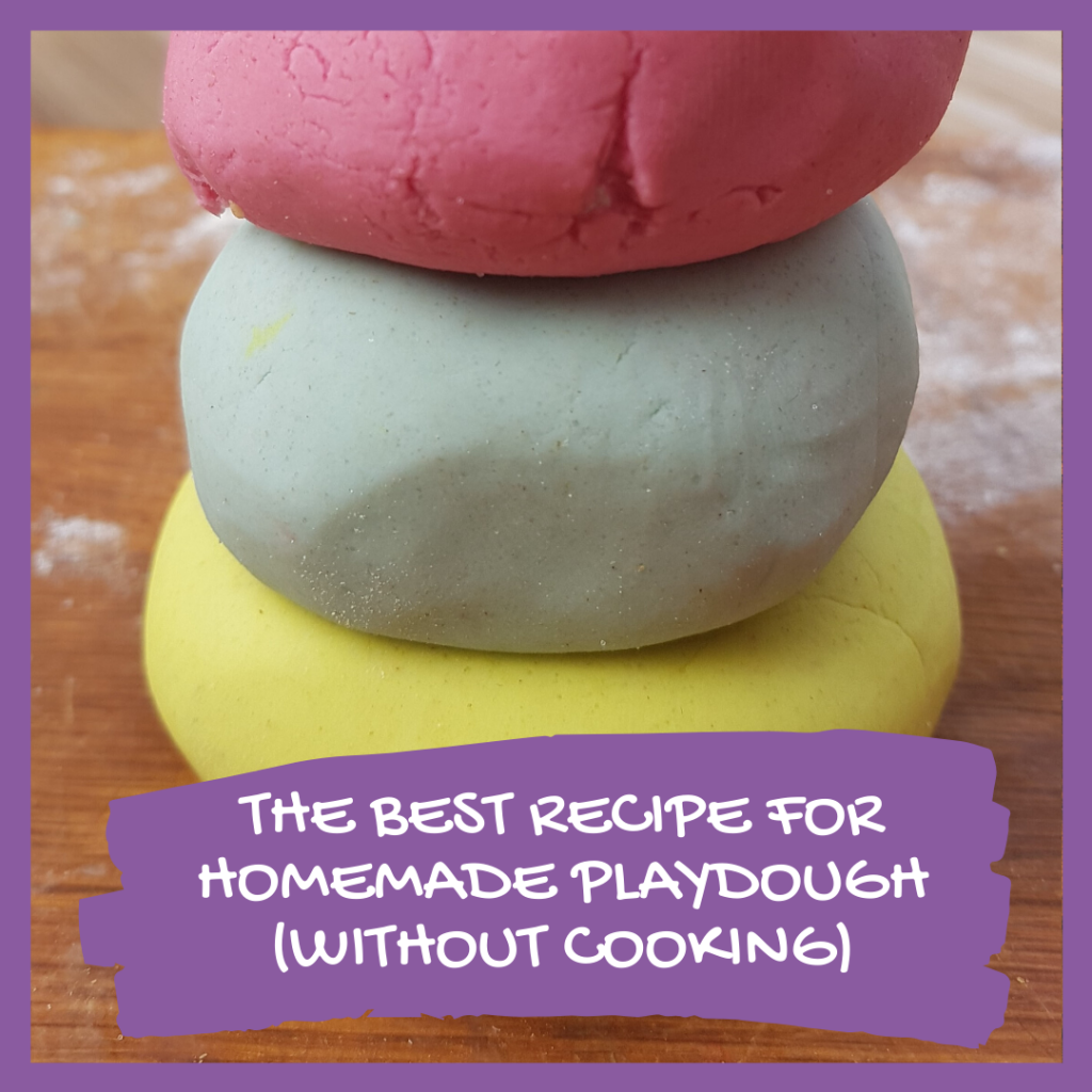 THE BEST RECIPE FOR HOMEMADE PLAYDOUGH (WITHOUT COOKING)
