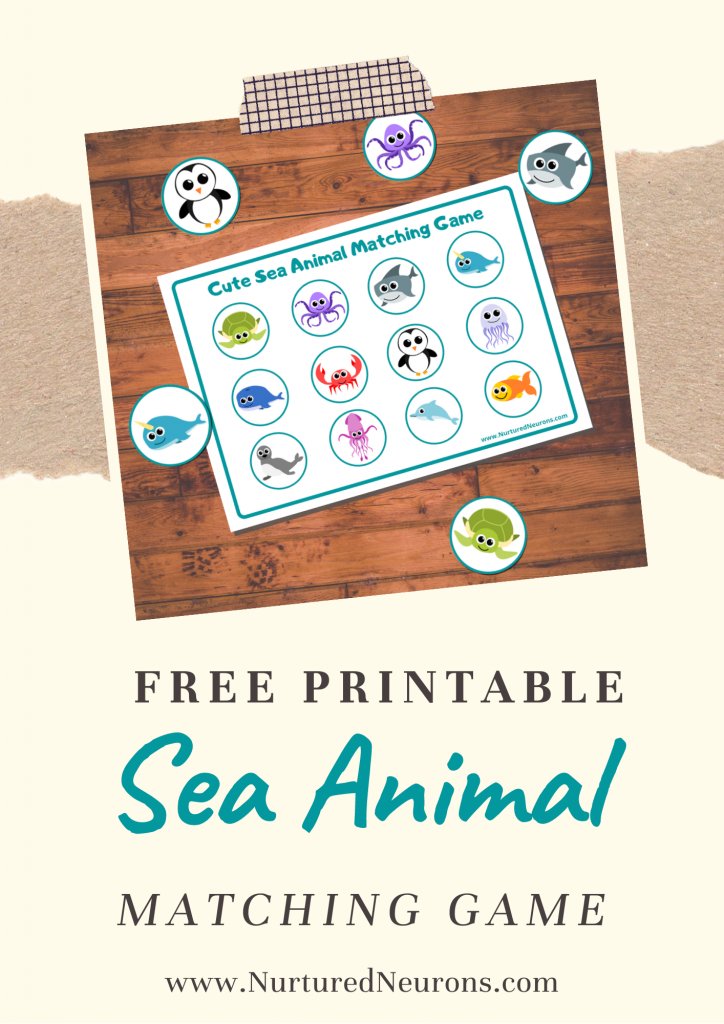 sea animal matching game for toddlers and preschoolers(free printable)