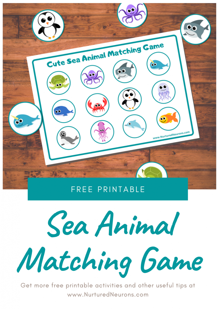 sea animal matching game for toddlers (free printable)