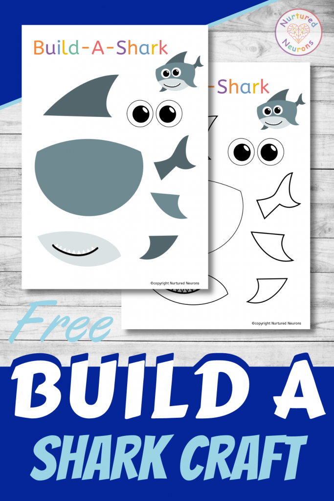 Build A shark free printable craft for preschoolers and toddlers