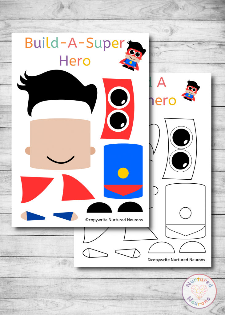 Build a SuperHero Craft for preschoolers and kindergarten