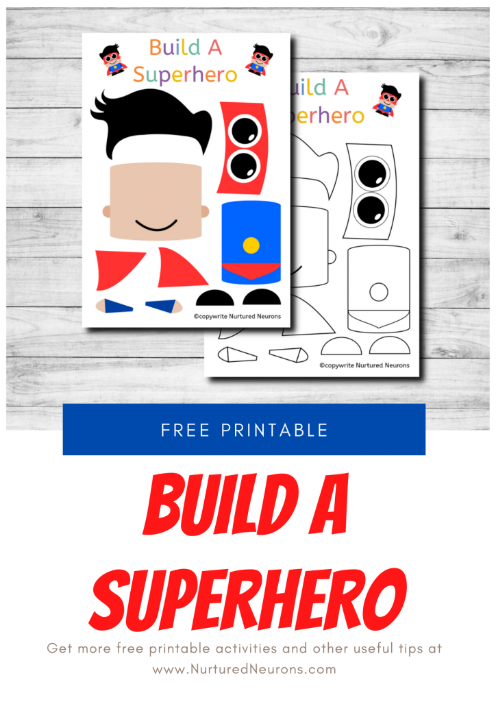 FREE PRINTABLE BUILD A SUPERHERO CRAFT