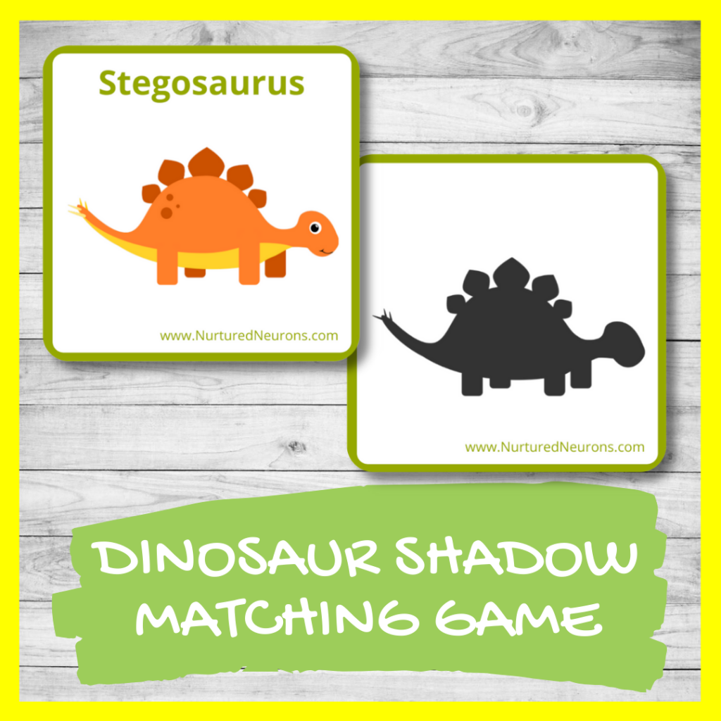 DINOSAUR SHADOW MATCHING GAME FOR TODDLERS AND PRESCHOOL (FREE PRINTABLE)