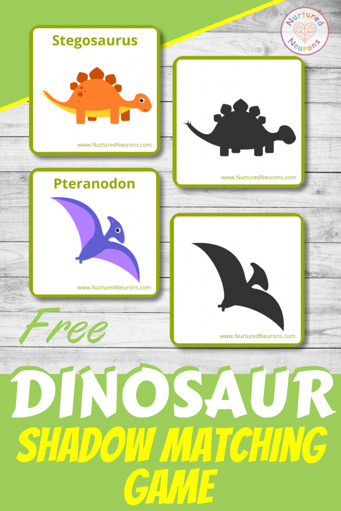 FREE DINOSAUR shadow matching game for preschool
