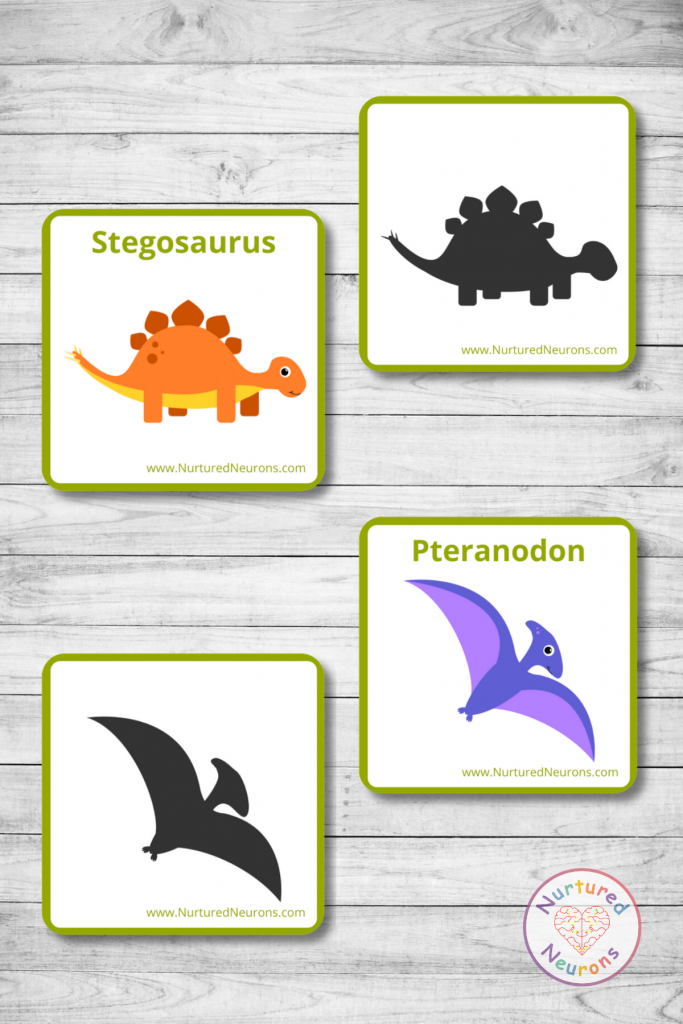 preschool dinosaur shadow matching game (free printable)