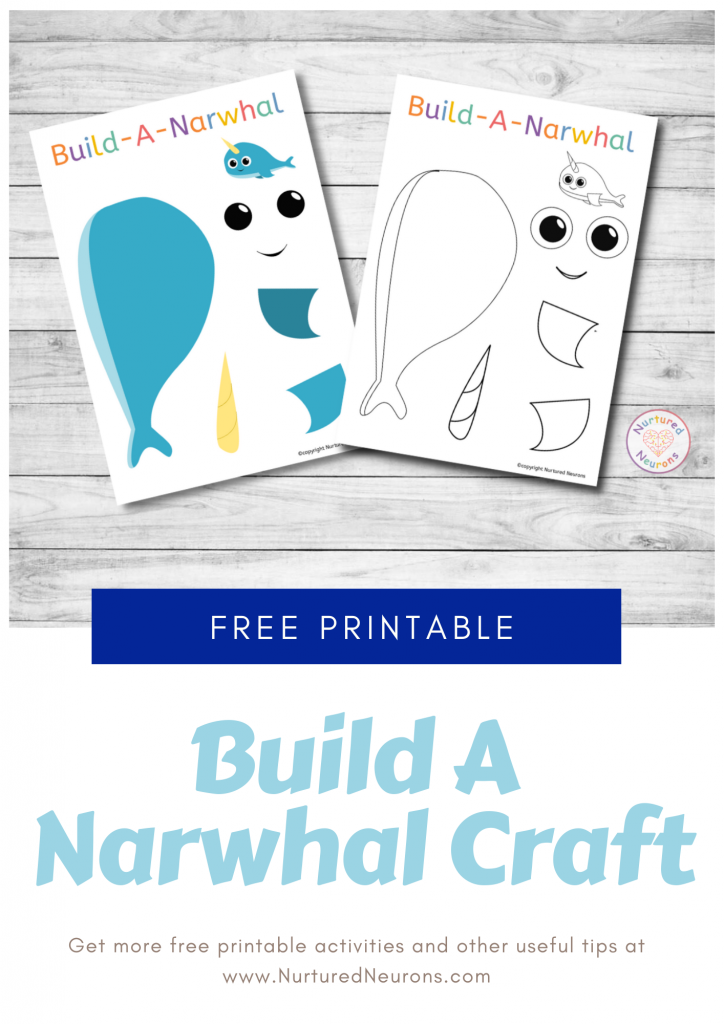 Build A Narwhal Craft free preschool printable template