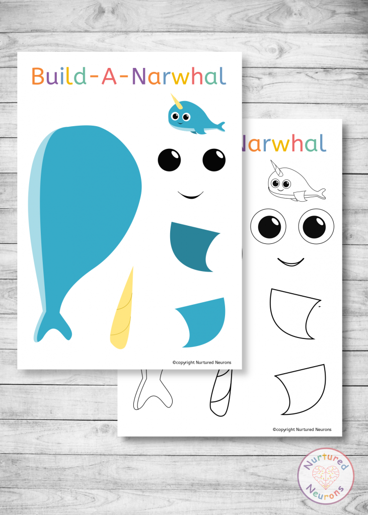Narwhal template for toddlers and preschoolers