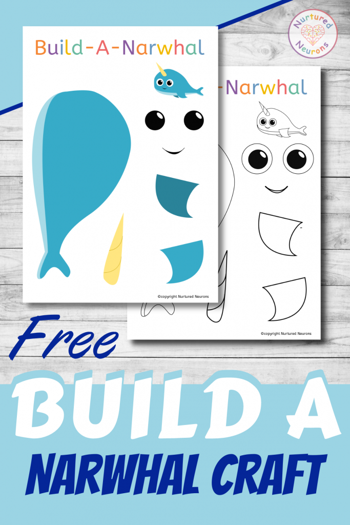 free printable Build A narwhal template for preschoolers and toddlers