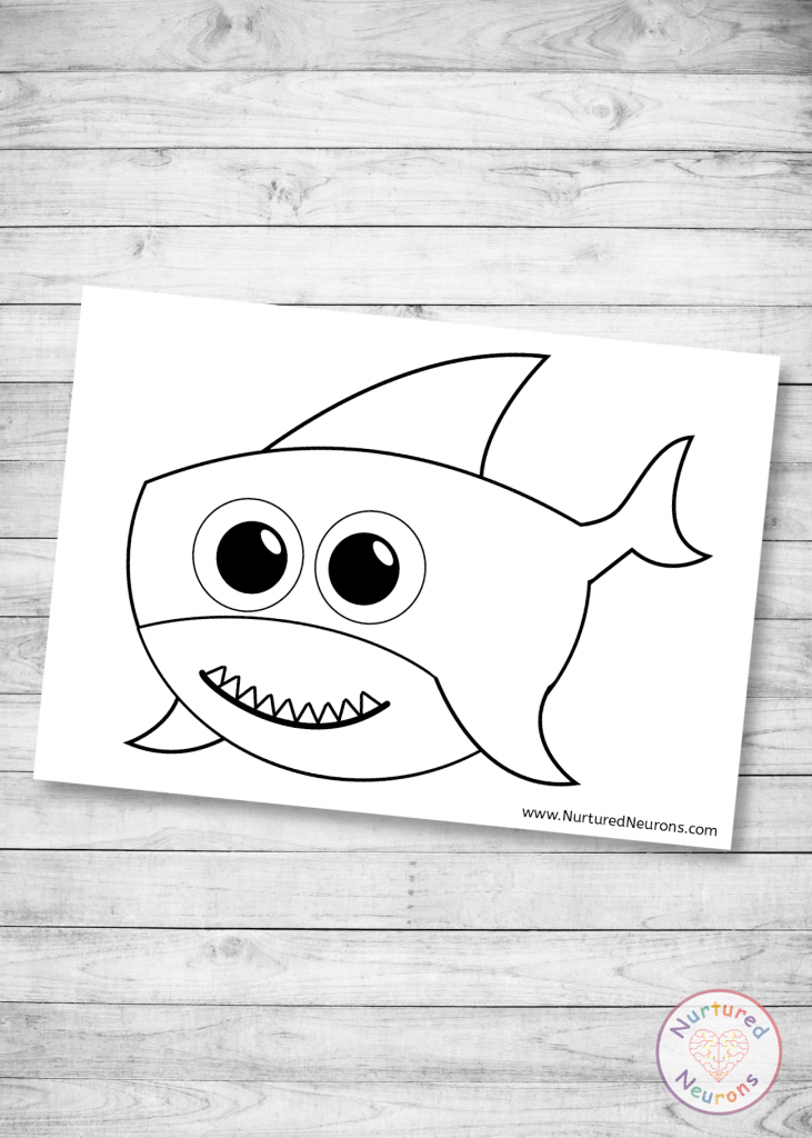 Cute Shark Template for preschool crafts