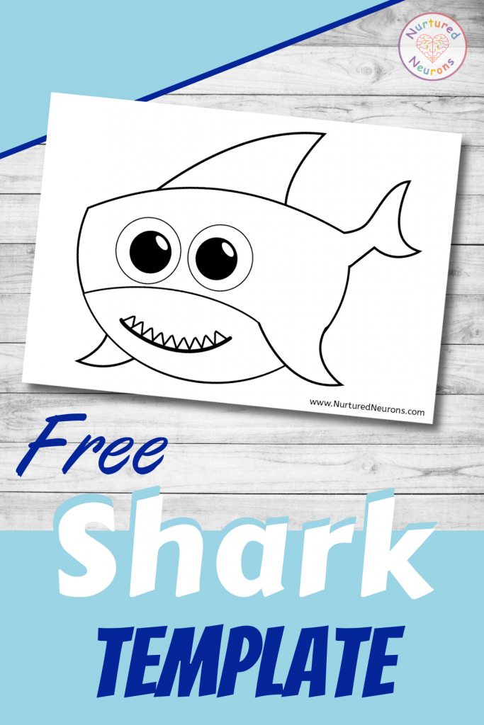 free printable Cute Shark template for preschoolers and toddlers