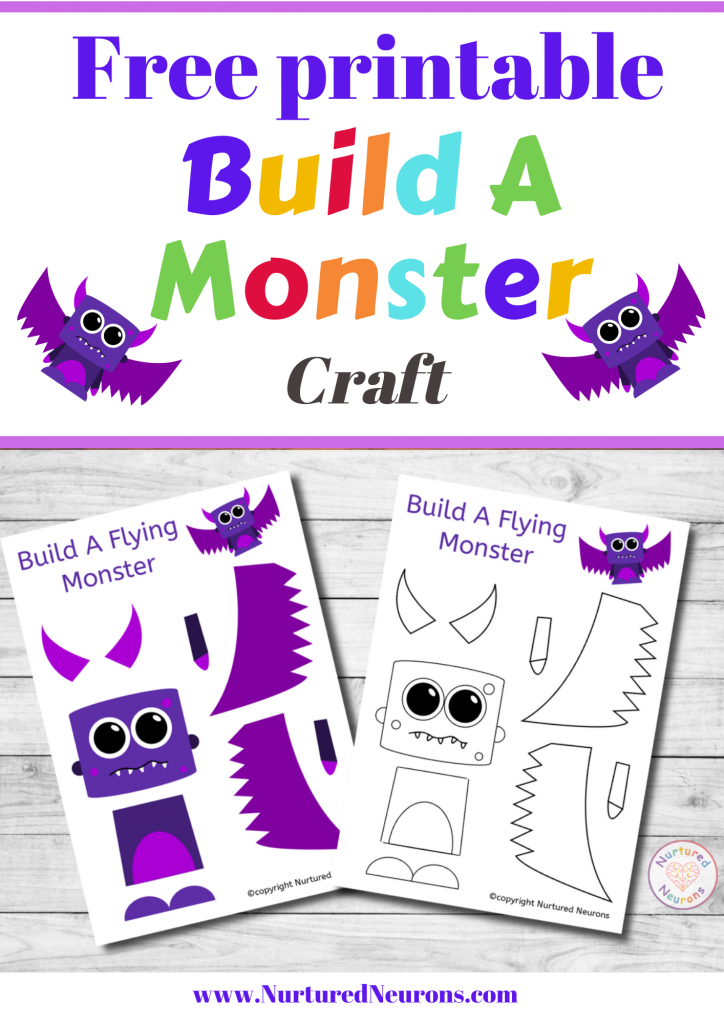Build A cute monster Craft free preschool printable template