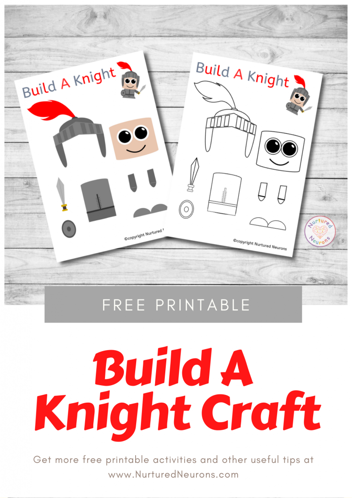 free printable Build A Knight CRAFT template for preschoolers and kindergarten