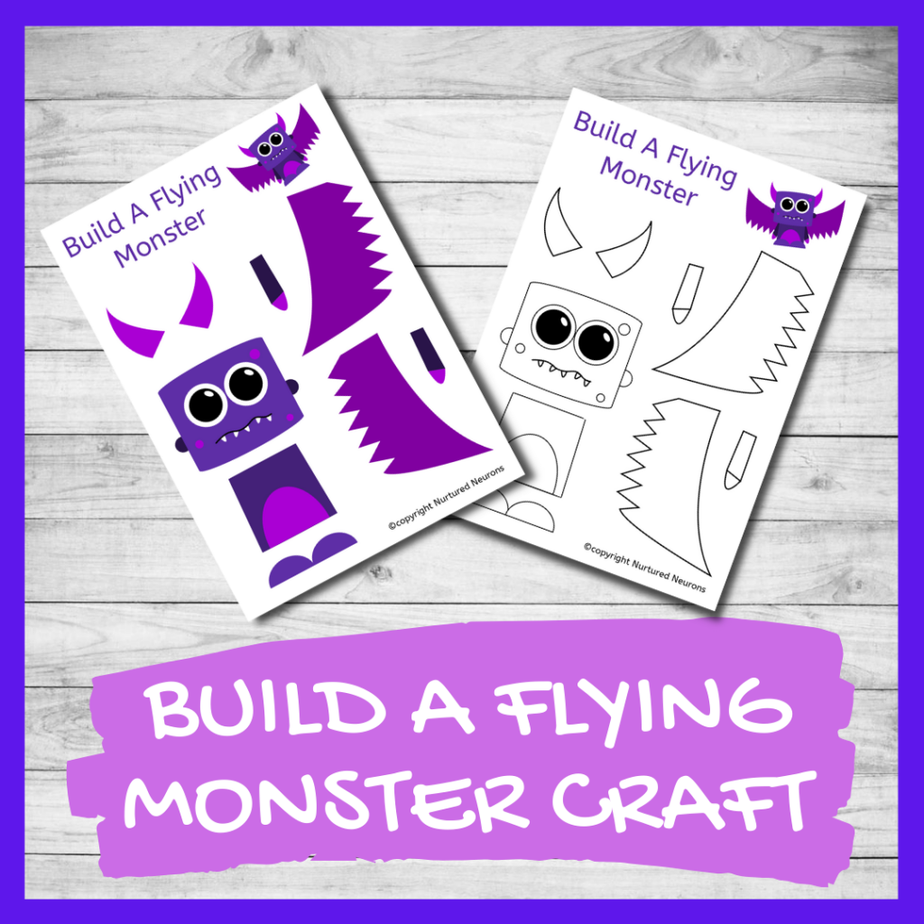 BUILD A CUTE MONSTER CRAFT free preschool printable