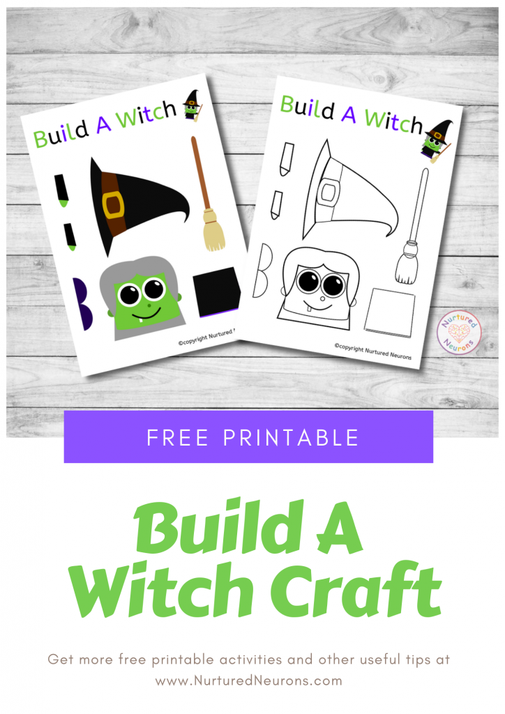 Build A Witch Craft free preschool Halloween printable template toddlers