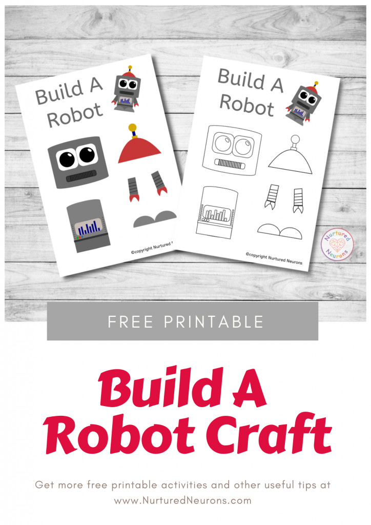 Build A robot Craft free preschool printable