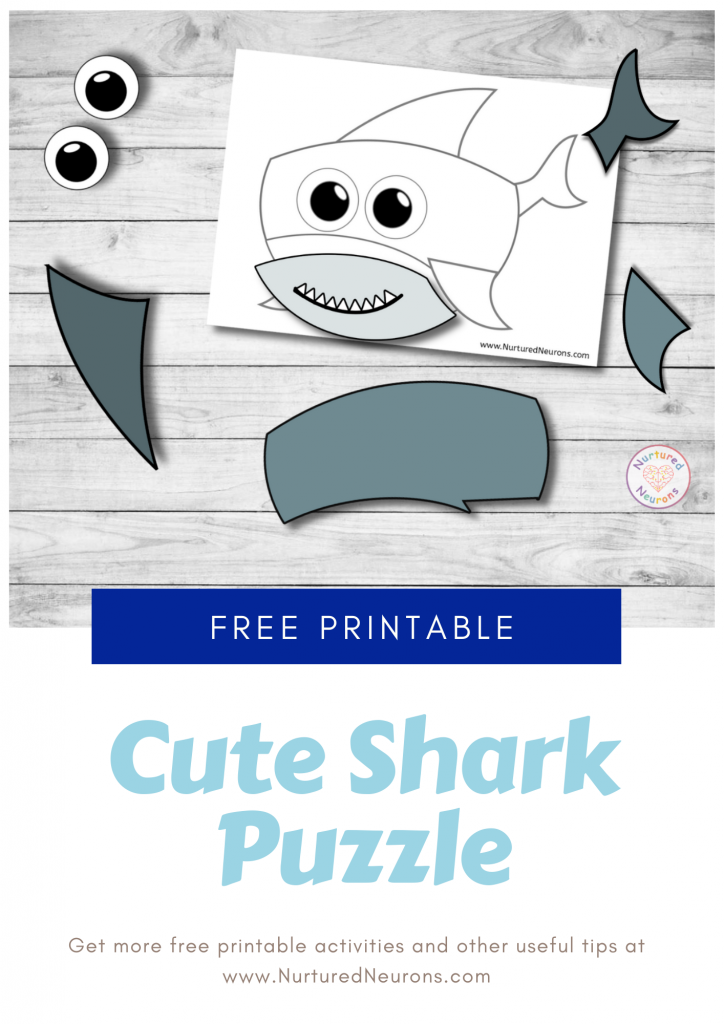Baby shark printable puzzle for toddlers