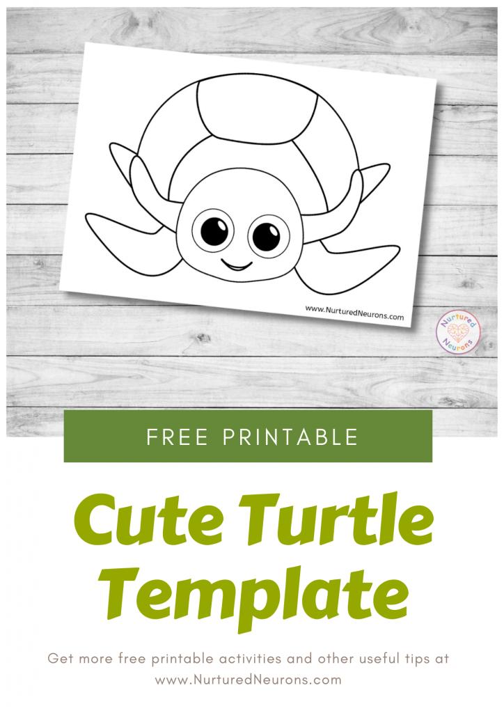 Cute Turtle Craft Template free preschool printable for kids