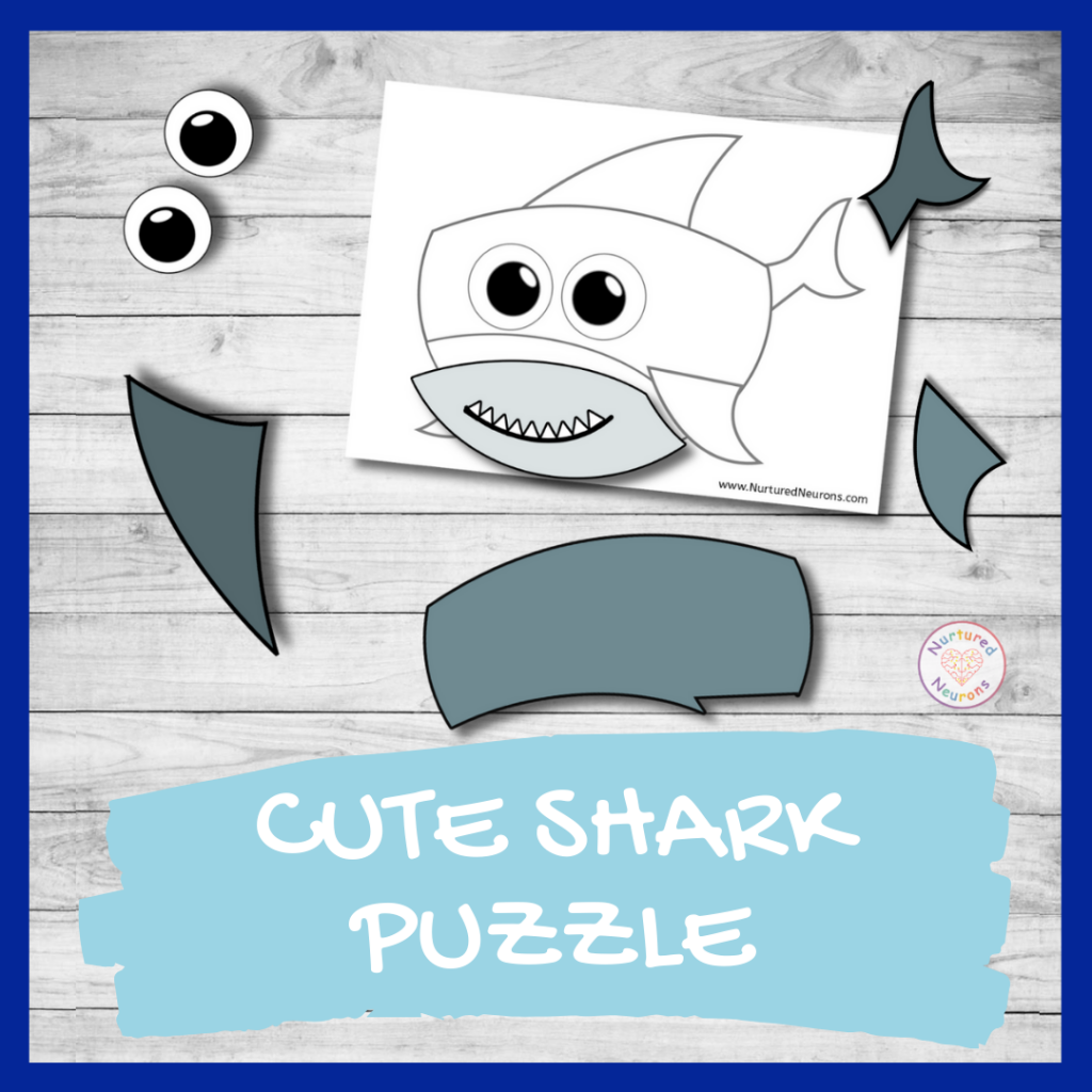 FREE PRINTABLE shark puzzle (preschool activity)