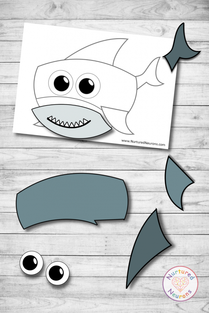 Free Baby Shark Puzzle printable - cute toddler shark activity