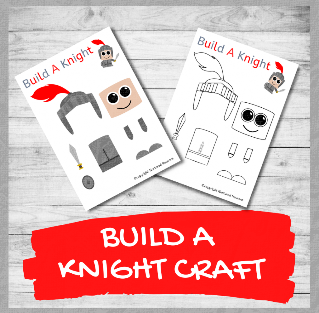 BUILD A CUTE Knight CRAFT free preschool printable