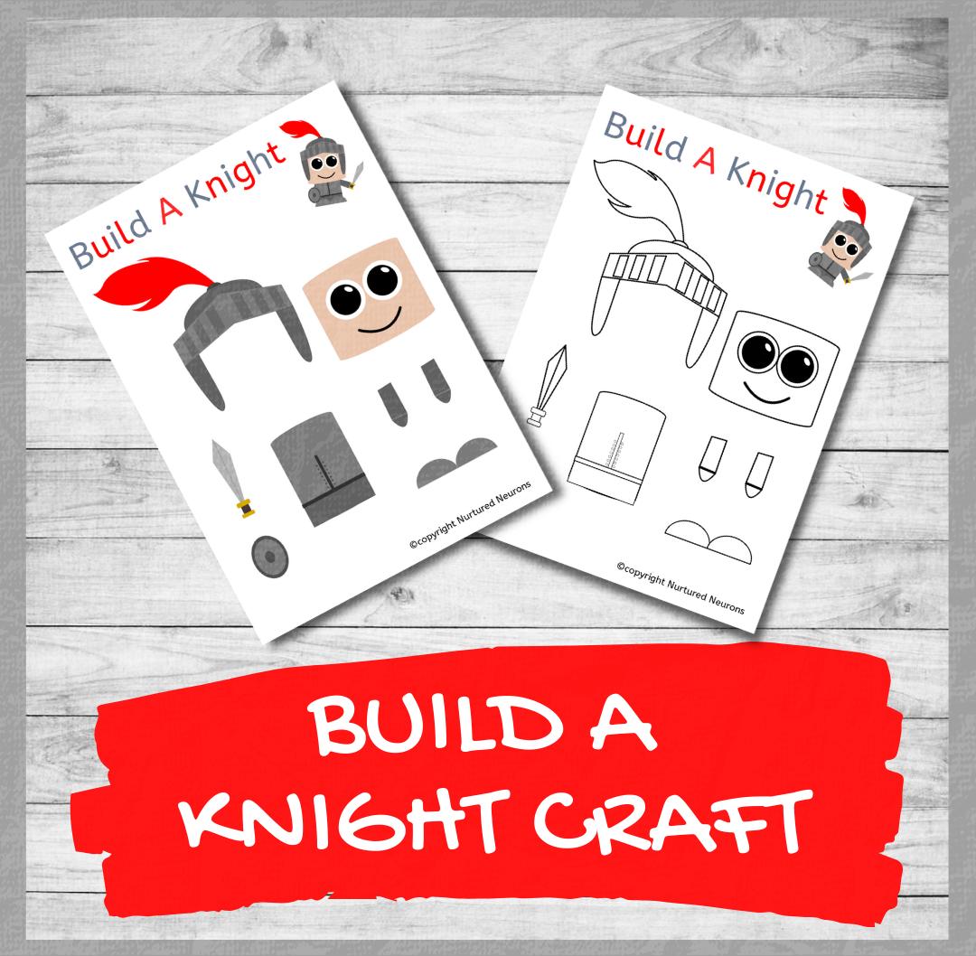 BUILD A CUTE Knight CRAFT free preschool printable