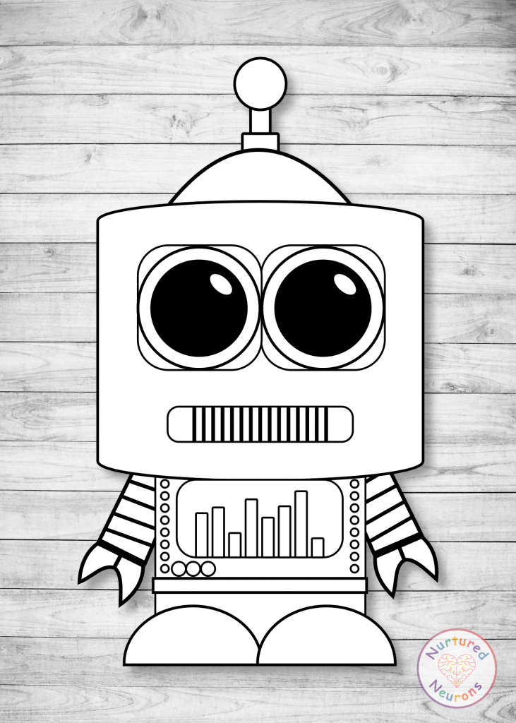 Cute Robot Outline (printable)