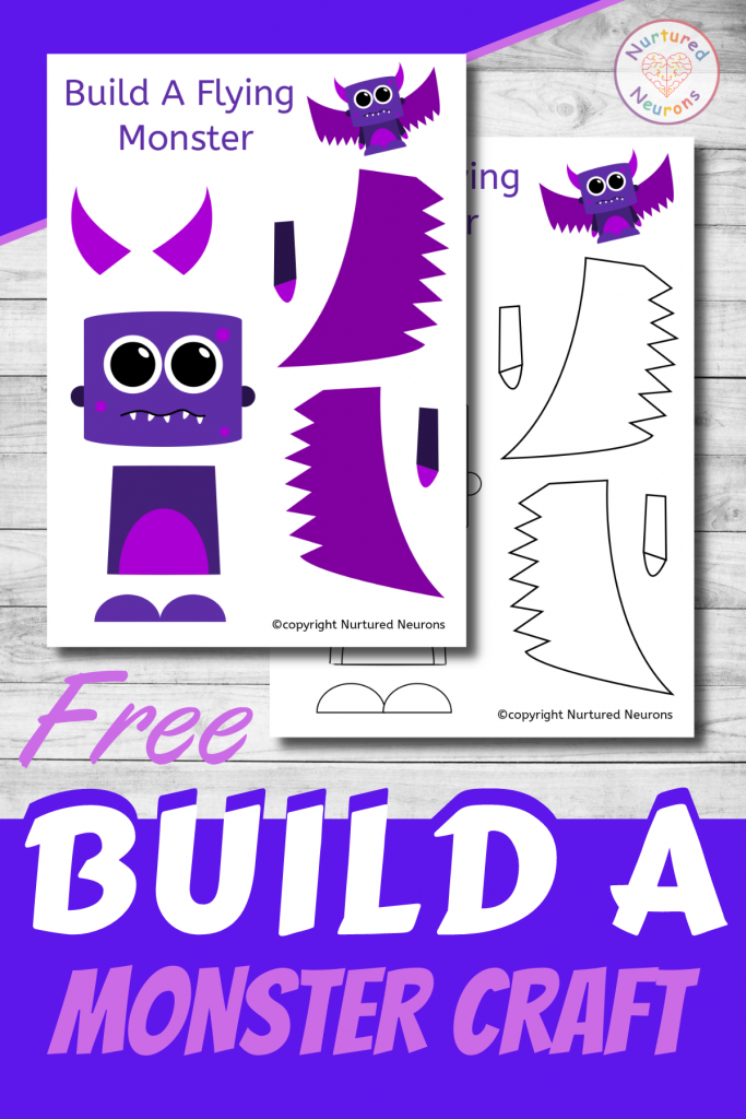 free printable Build A FLYING MONSTER CRAFT template for preschoolers and toddlers