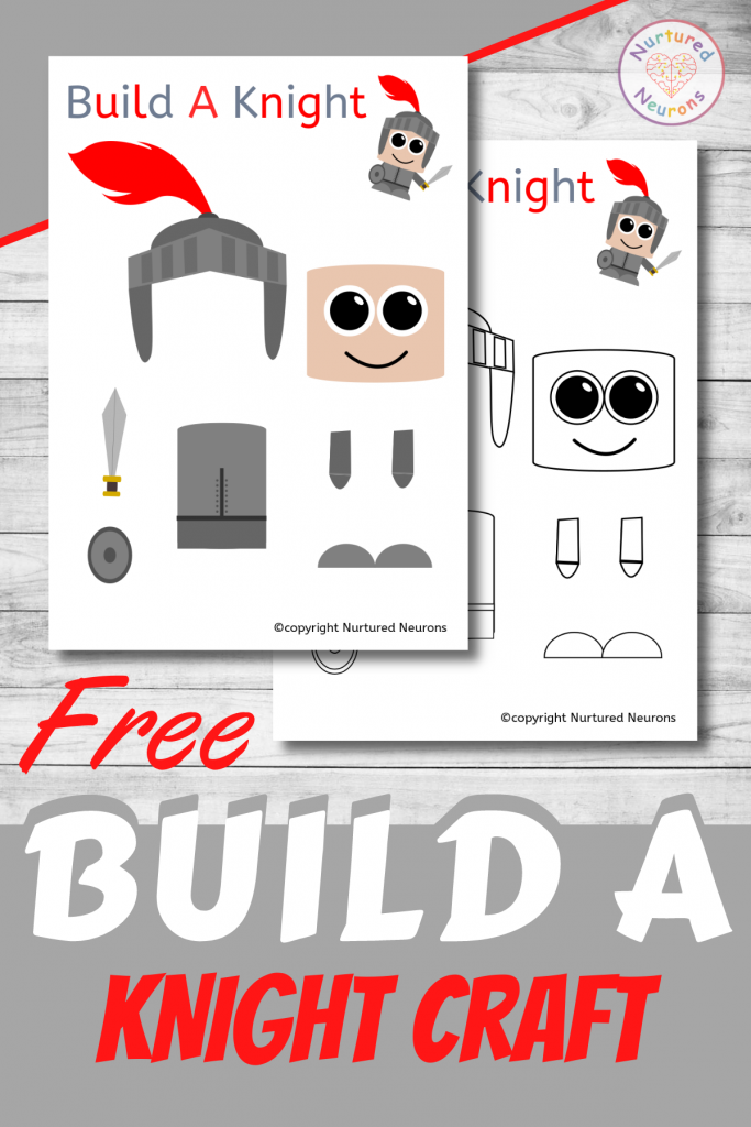 free printable Build A Knight CRAFT template for preschoolers and toddlers