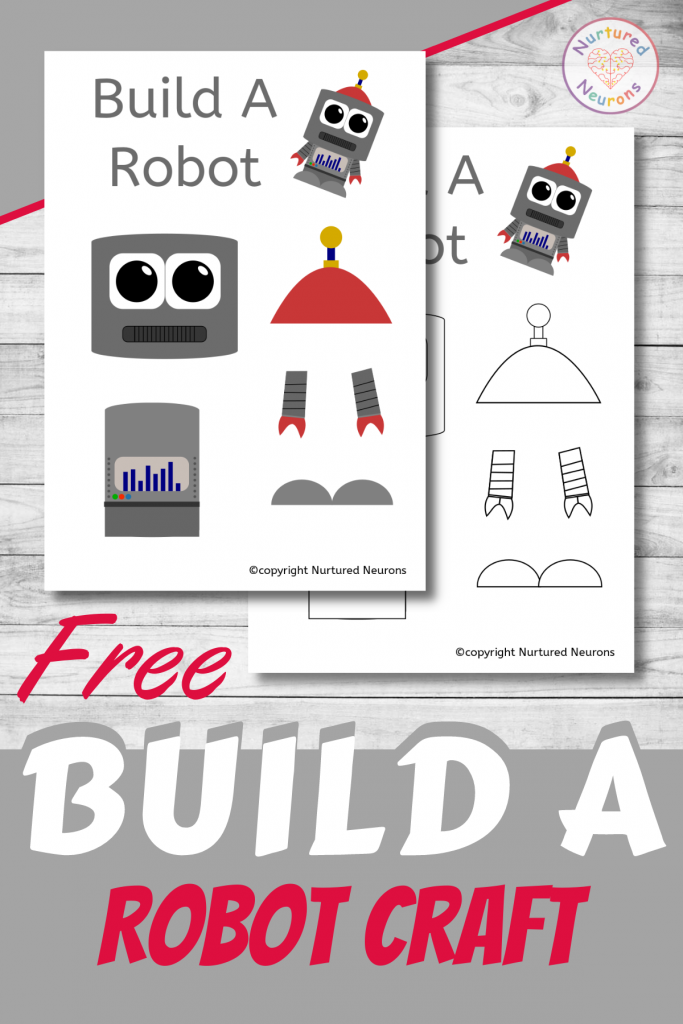 free printable Build A ROBOT CRAFT template for preschoolers and toddlers