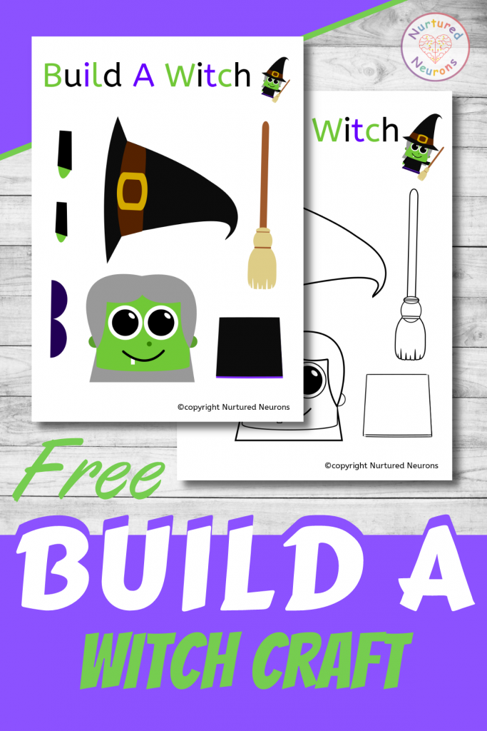 free printable Build A WITCH CRAFT template for preschoolers and toddlers