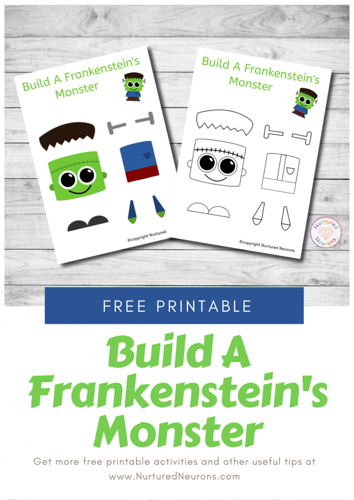 Build A Cute Frankenstein Craft free preschool Halloween printable template