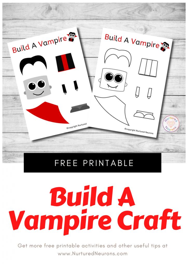 Build A VAMPIRE Craft free preschool Halloween printable template