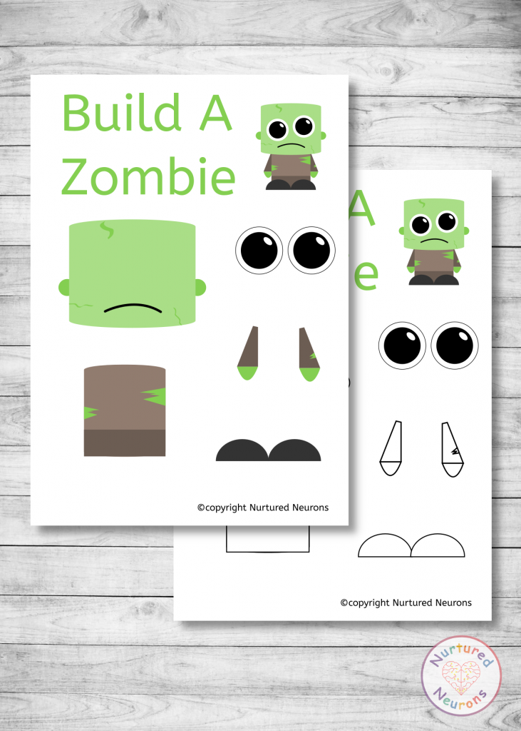 free printable Build A zombie craft templates for preschoolers and toddlers