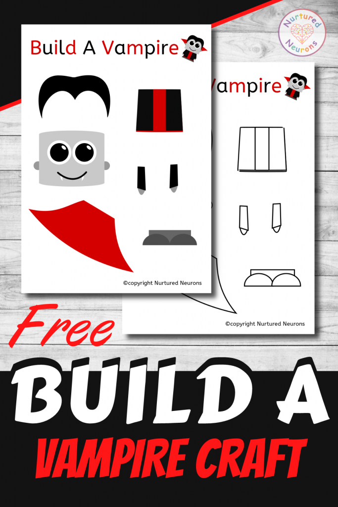 free printable Build A Vampire CRAFT template for preschoolers and toddlers