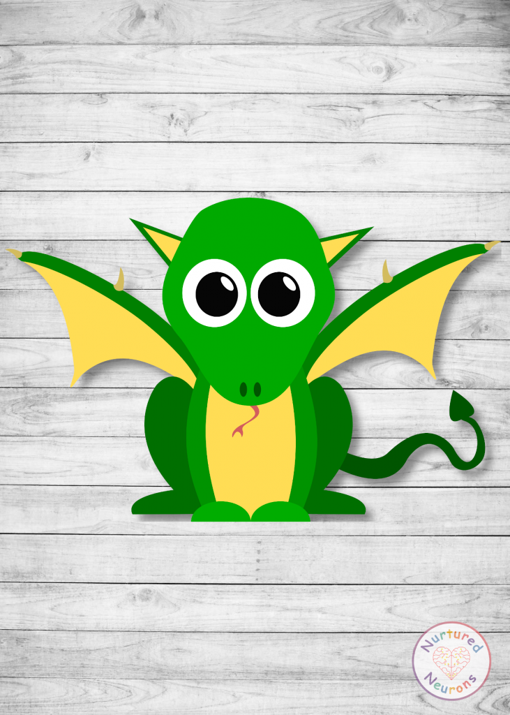 free printable DRAGON CRAFT for preschoolers and toddlers