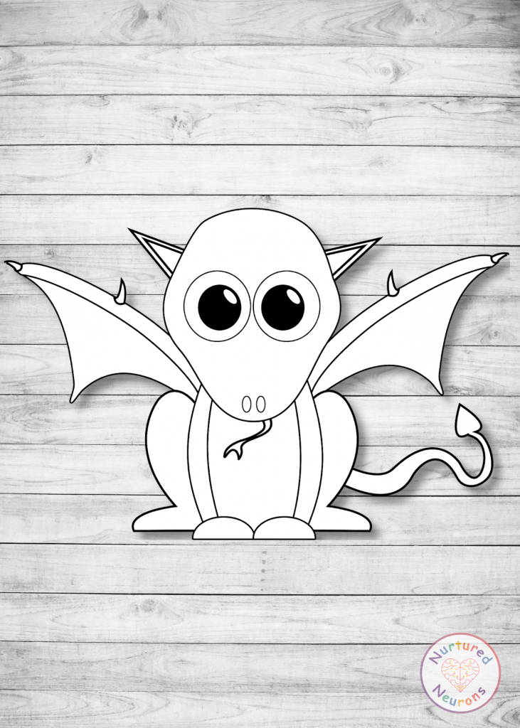 a black and white dragon craft template