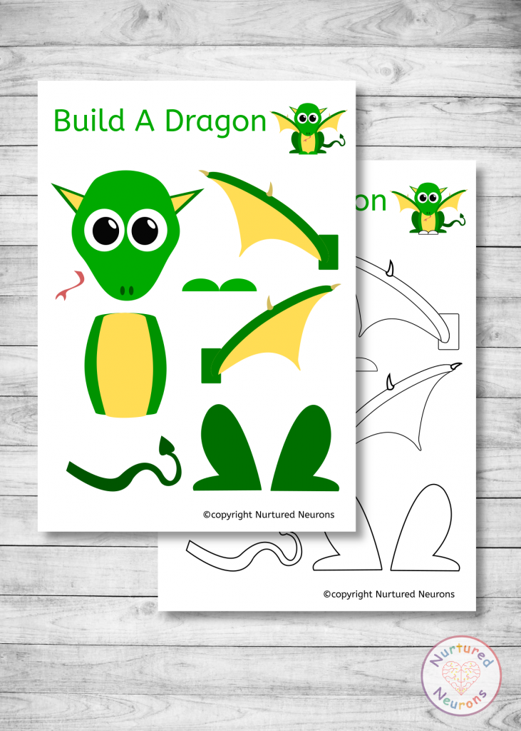 free printable Build A DRAGON CRAFT for preschoolers and toddlers