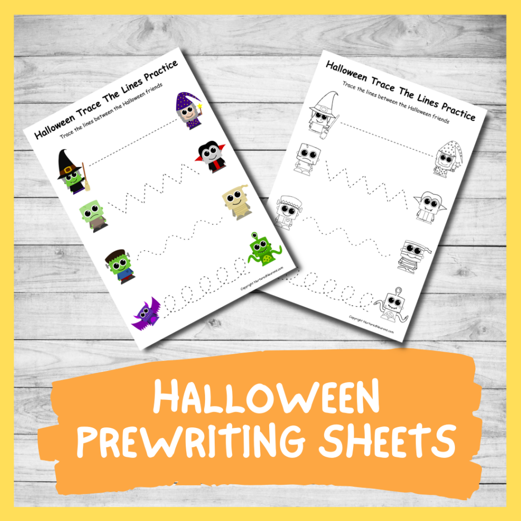 FREE PRINTABLE HALLOWEEN prewriting trace the lines worksheets for preschool