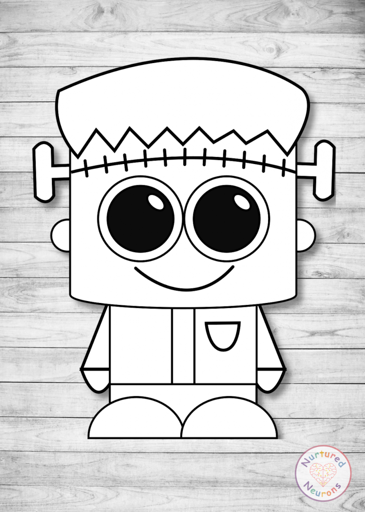 free printable plain Frankenstein CRAFT for preschoolers and toddlers
