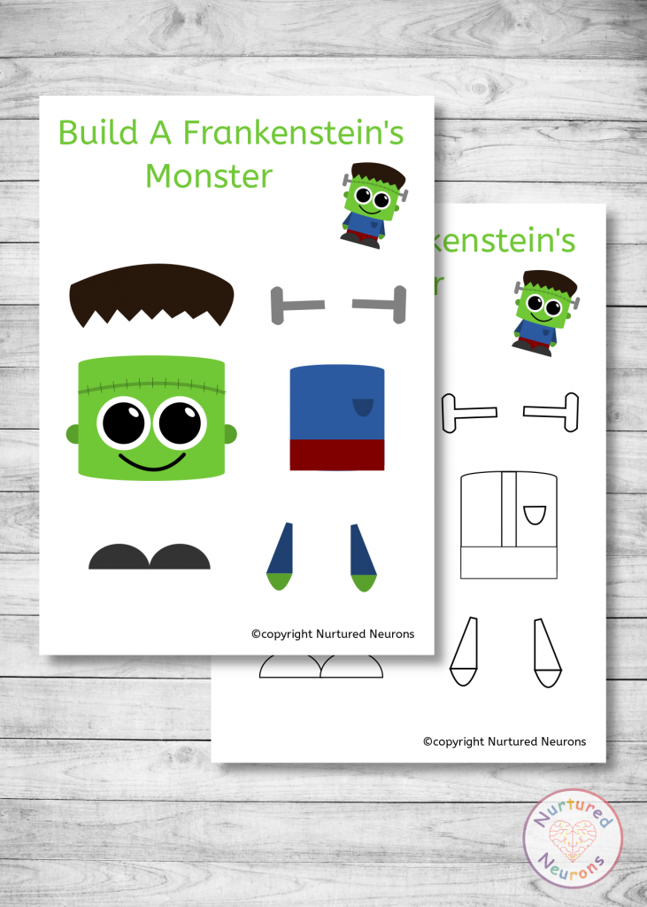 free printable Build A Frankenstein craft for preschoolers and toddlers