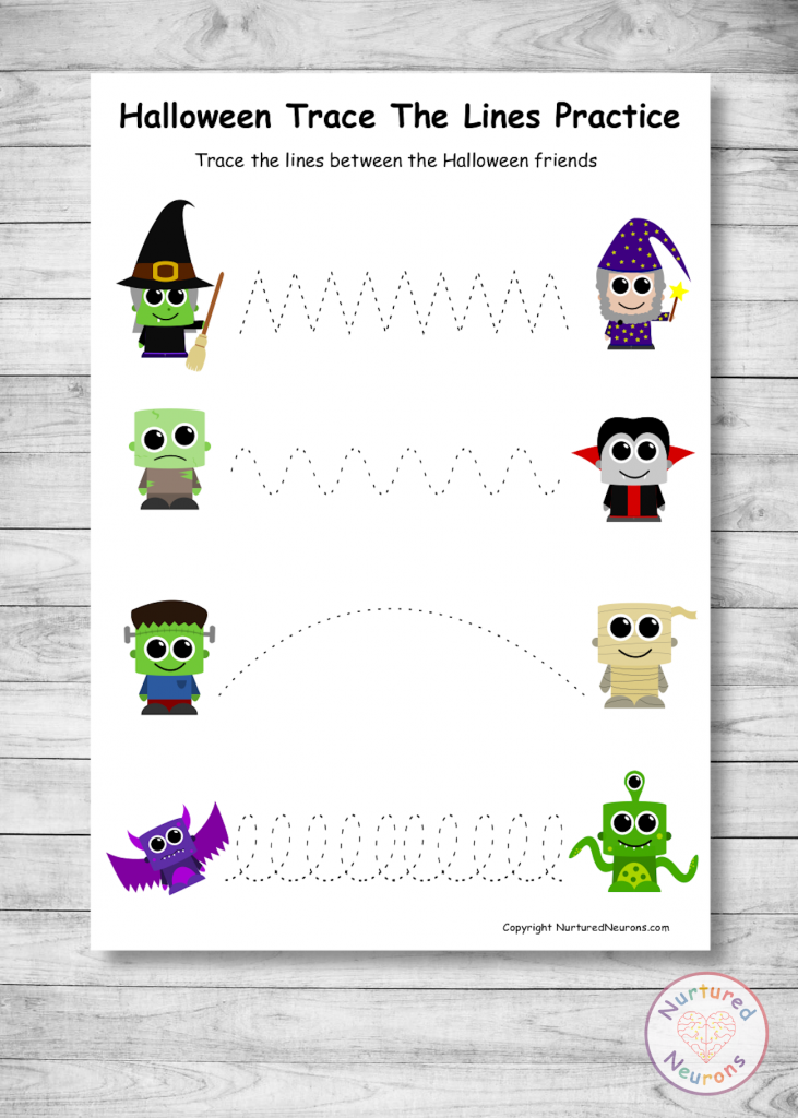 Halloween Tracing Sheets for prewriting skills
