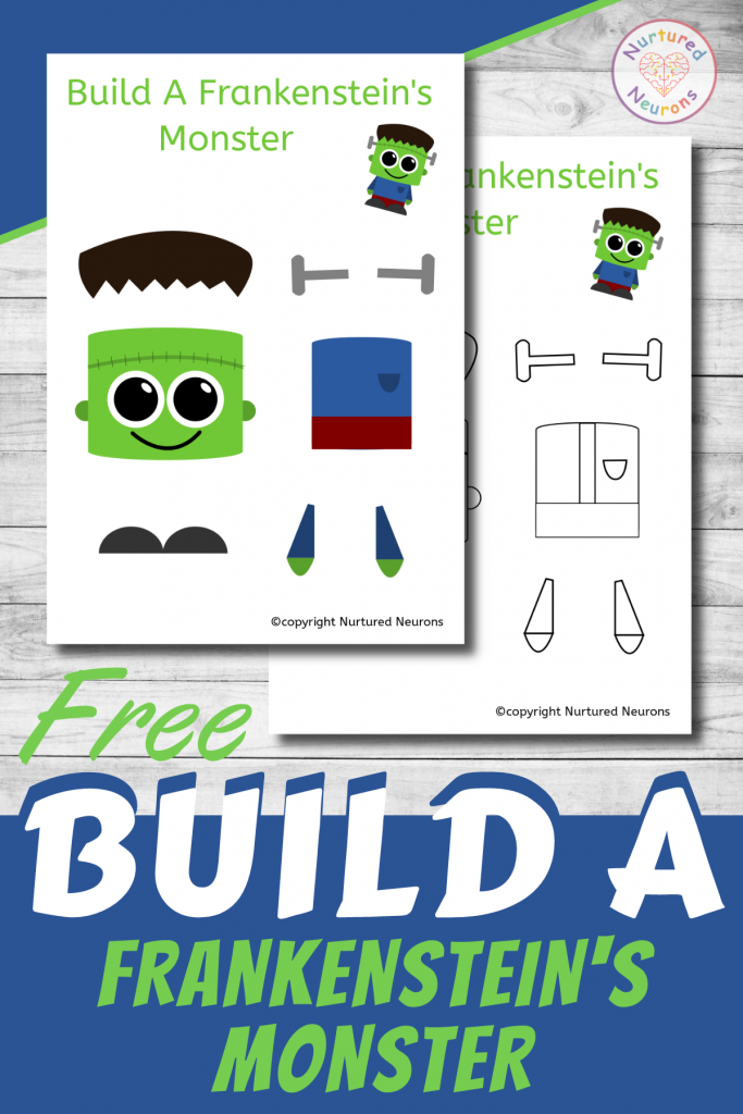 free printable Build A CUTE FRANKENSTEIN MONSTER CRAFT template for preschoolers and toddlers